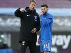 Brighton boss Graham Potter, left, could have Adam Lallana back from injury against Fulham (Paul Childs/PA)