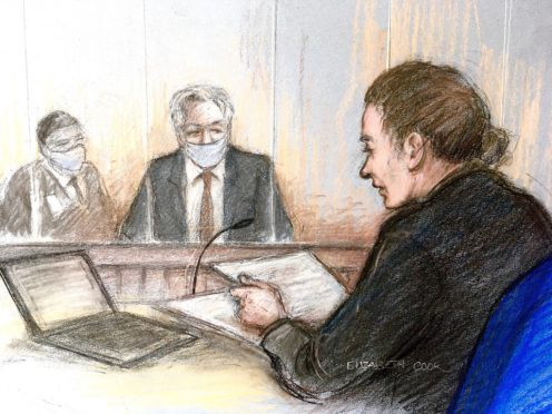 Court artist sketch by Elizabeth Cook of Julian Assange appearing at the Old Bailey in London. The Wikileaks founder was refused bail as the United States government appeals against a decision to block his extradition.