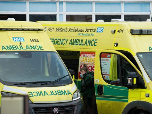 Ambulance crews at City Hospital in Birmingham. West Midlands (Jacob King/PA)