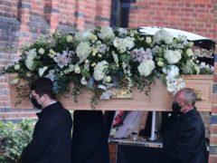 Dame Barbara Windsor's coffin (Ian West/PA)