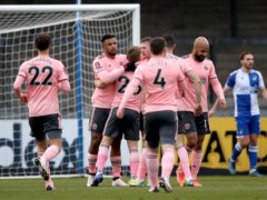 Sheffield United players celebrate taking the lead in their FA Cup win at Bristol Rovers (Nick Potts/PA)