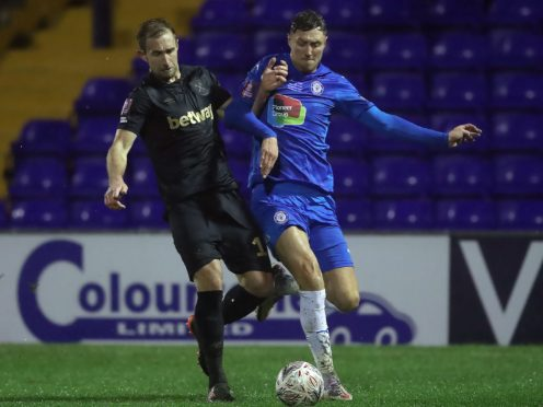 Richie Bennett (right) was on target for Stockport (Martin Rickett/PA)