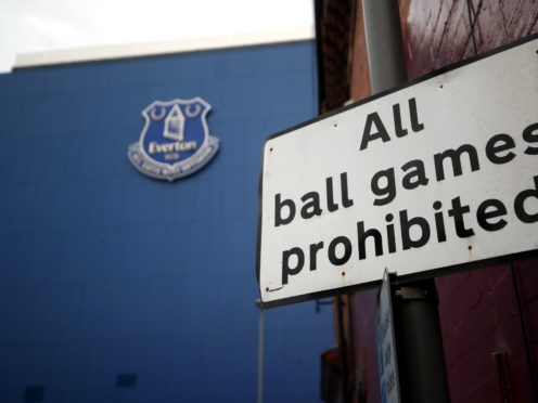 File photo dated 16-03-2020 of A general view of an All ball games prohibited sign outside Goodison Park, Liverpool (Martin Rickett/PA)