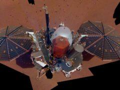 The InSight lander on Mars (Nasa via AP)
