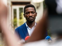 Uganda's leading opposition challenger Bobi Wine giving a press conference (Jerome Delay/AP)