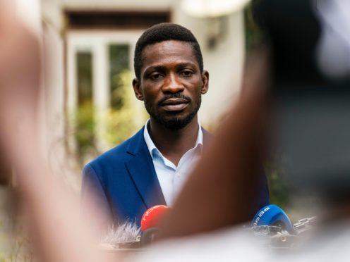 Uganda's leading opposition challenger Bobi Wine giving a press conference (Jerome Delay/AP)