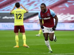 Michail Antonio (right) celebrates scoring against Burnley (Julian Finney/PA).