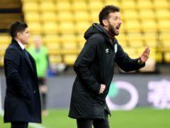 Carlos Corberan (right) has backed his goalkeeper after defeat at Watford (Yui Mok/PA)