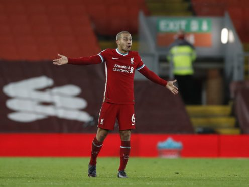 Liverpool midfielder Thiago Alcantara admits missing chances is affecting confidence (Phil Noble/PA)