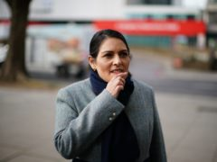 Home Secretary Priti Patel while on patrol with Metropolitan Police officers to hear about about Covid enforcement (Aaron Chown/PA)