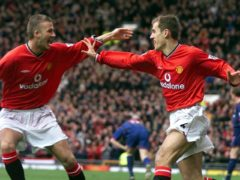 David Beckham, left, and Phil Neville were Manchester United team-mates (Phil Noble/PA)