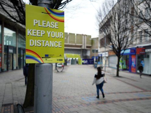 Social distancing signs in Nottingham (Zac Goodwin/PA)