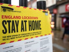 A Government sign warning people to stay at home during England's third national lockdown (Andrew Matthews/AP)