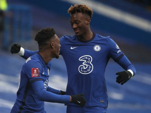 Tammy Abraham (right) celebrates a Chelsea hat-trick with team-mate Callum Hudson-Odoi in a 3-1 FA Cup fourth round win over Luton.