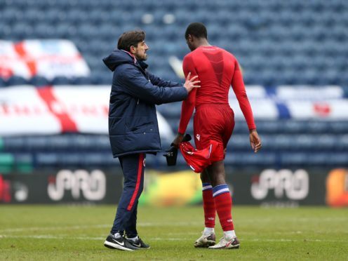Reading's Lucas Joao (right) is consoled by manager Veljko Paunovic (Barrington Coombs/PA)