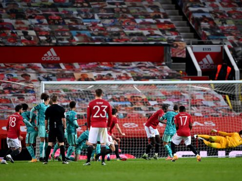 Manchester United's Bruno Fernandes (left) scored the winning goal against Liverpool (Laurence Griffiths/PA)