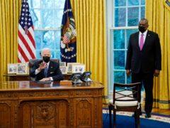 President Joe Biden meets with secretary of defence Lloyd Austin (AP /Evan Vucci)