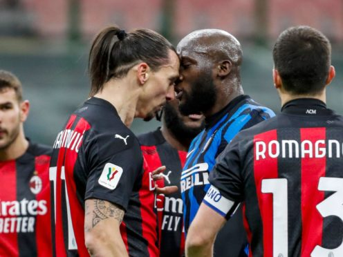 Goalscorers Zlatan Ibrahimovic, left, and Romelu Lukaku, right, got involved in a heated exchange just before half-time in Tuesday's derby (Antonio Calanni/AP)