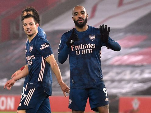 Arsenal's Alexandre Lacazette celebrates scoring their side's third goal of the game during the Premier League match at St Mary's Stadium, Southampton. Picture date: Tuesday January 26, 2021.