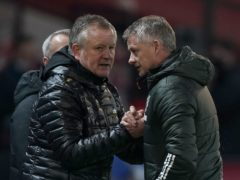 Sheffield United manager Chris Wilder, left, was able to celebrate a rare win over Manchester United (Tim Keeton/PA)