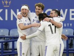 Leeds celebrate during their victory over Leicester (Tim Keeton/PA).