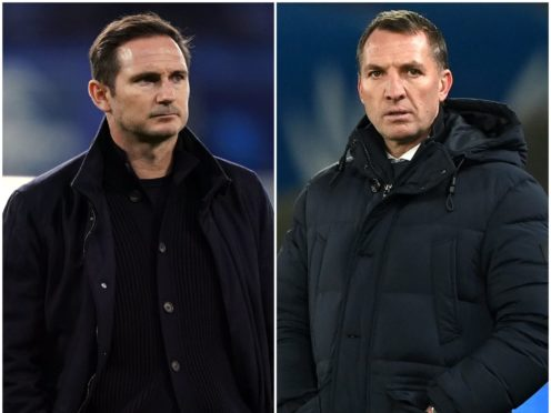 Frank Lampard, left, believes Chelsea's 'benchmark' has changed since Brendan Rodgers, right, distanced himself from the Stamford Bridge job (John Walton/Facundo Arrizabalaga/PA)