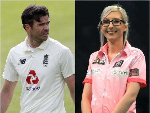 Jimmy Anderson and Fallon Sherrock feature in Saturday's sporting social (Alastair Grant/Simon Cooper/PA)