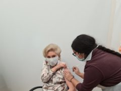 Angela Rippon receives the vaccine (PR handout/PA)