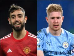 Manchester United's Bruno Fernandes and Kevin De Bruyne of Manchester City are pivotal players for their teams (PA)