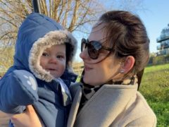 Rachael Thorold, 36, holds her five-month-old baby son Louis Thorold hours before a van struck his pram (Family/PA)