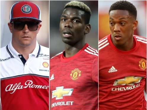 Kimi Raikkonen, Paul Pogba and Anthony Martial (Martin Rickett/PA)