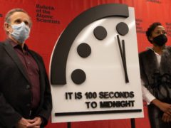 The coronavirus pandemic is cited as one of the main reasons why the Doomsday Clock's position has not changed (Bulletin of the Atomic Scientists/PA)
