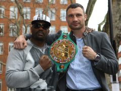 Dereck Chisora (left) and Vitali Klitschko met on this day in 2012 for the WBC world heavyweight title (Nick Potts/PA)
