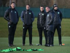 John Kennedy, second from left, has been backed to succeed by Brendan Rodgers, second from right (Andrew Milligan/PA)