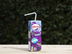 A Ribena carton with a paper straw (Transcend Packaging)