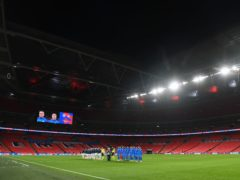 The last time Wembley Stadium hosted fans was the 2020 Carabao Cup final on March 1 (Michael Regan/PA)