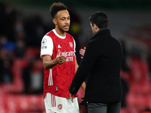 """Arsenal manager Mikel Arteta believes Pierre-Emerick Aubameyang, lft, has responded well to """"difficult moments"""" recently (Catherine Ivill/PA)"""