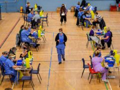 Vaccination stations at Cwmbran Stadium, south Wales (Ben Birchall/PA)