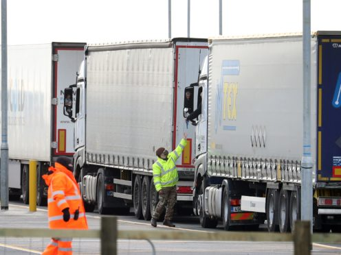 Army personnel helping lorry drivers with their Covid-19 testing (Gareth Fuller/PA)