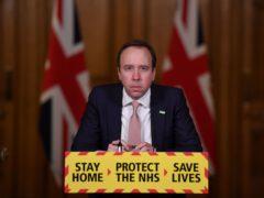 Health Secretary Matt Hancock during the latest Downing Street briefing (Chris J Ratcliffe/PA)