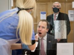 Health Secretary Matt Hancock takes a coronavirus test at a new Covid-19 testing facility in the Houses of Parliament (PA)