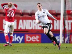 Andy Cannon, right, celebrates scoring Portsmouth's third goal (John Walton/PA)