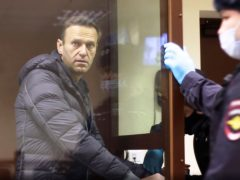 Alexei Navalny stands in a cage during a hearing on his charges of defamation (Babuskinsky District Court via AP)