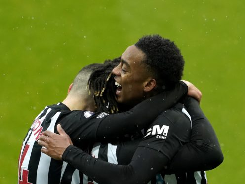 Newcastle's Joe Willock (right) celebrates his goal (Owen Humphreys/PA