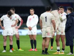 England players stand dejected after their Guinness Six Nations defeat by Scotland (David Davies/PA)