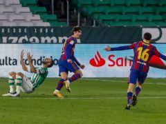 Francisco Trincao celebrates after scoring the winner for Barcelona away to Real Betis (Miguel Morenatti/AP/PA)