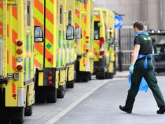Ambulances at Whitechapel hospital in London. More than one in three ambulance staff have had Covid-19 � mainly catching it while at work, according to new research. Issue date: Monday February 8, 2021.