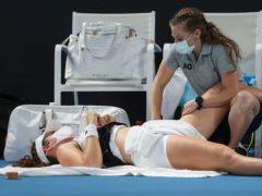 Britain's Johanna Konta retired injured (Hamish Blair/AP)