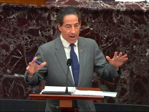 House impeachment manager Jamie Raskin speaks during the trial (Senate Television via AP)