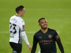 Gabriel Jesus celebrates after scoring in Manchester City's 3-1 win at Swansea (Nick Potts/PA)